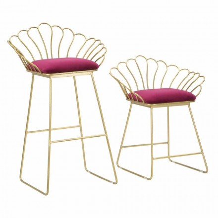 Paar gekleurde moderne design krukken in ijzer en polyester - Malika