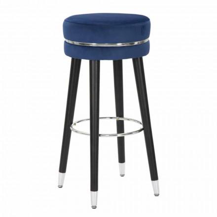 Modern design ronde houten en stoffen barkruk - Rupert