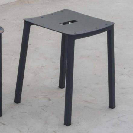 Moderne lage stapelbare kruk voor buiten in aluminium Made in Italy - Dobla