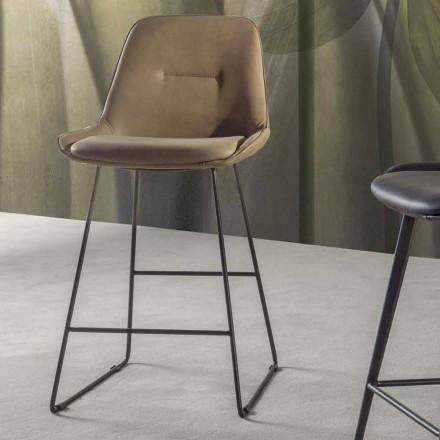 Moderne design kruk met geverfde metalen slee - Ines