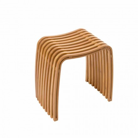Gorizia warm gebogen designkruk met bamboe