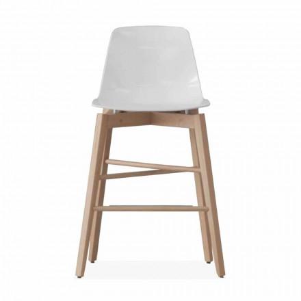 Kruk in eikenhout en wit gelakte zitting van modern design - Langoustine
