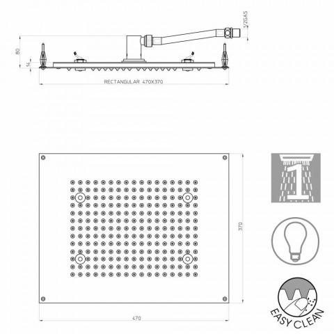 Bossini Rechthoekige douche kop met een jet en LED-verlichting