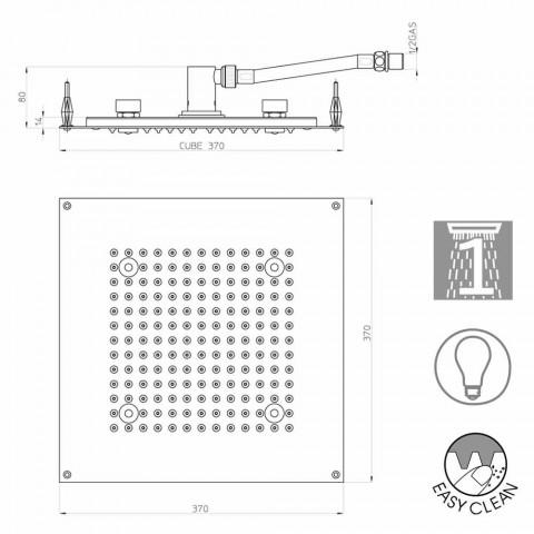 Douchekop met lichttherapie vierkant met een straal Bossini