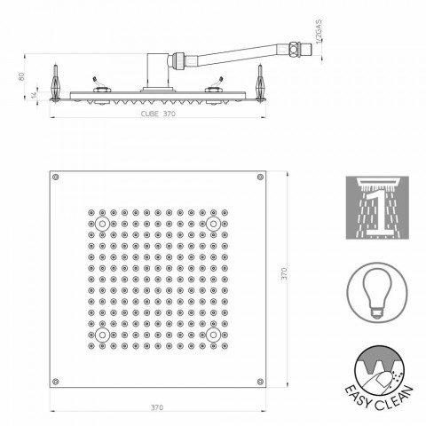 Douche kop met vierkante LED-lampjes om een jet Bossini