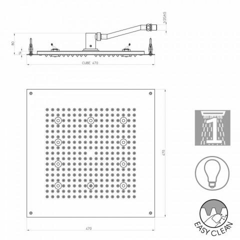 Plein douchekop douche met regendouche en LED-verlichting Bossini