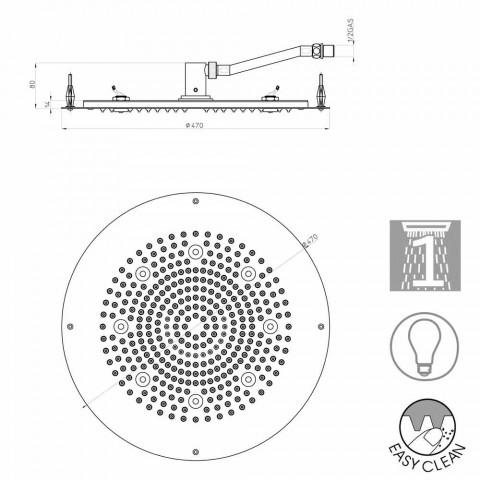 Overhead modern round douche om een jet met LED verlichting Bossini