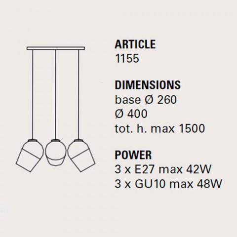 Hanglamp met drie metalen magneet - Toscot lampen