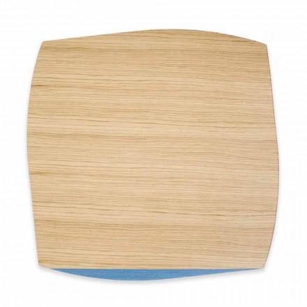 Moderne vierkante placemat in eikenhout gemaakt in Italië, 4 stuks - Abraham
