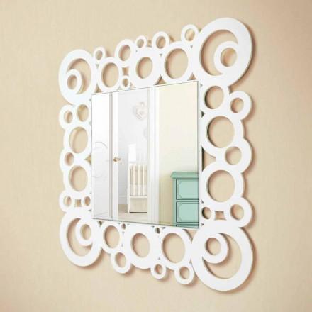Witte vierkante wandspiegel modern design met houten decoraties - Bubble