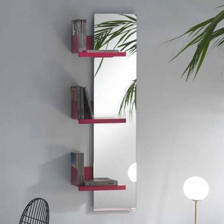 Wandspiegel en 3 luxe design planken van gekleurd metaal - Noelle