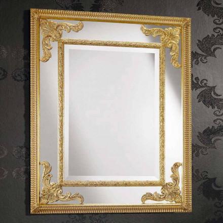 Wandspiegel in rechthoekig hout geproduceerd in Italië door Valentino