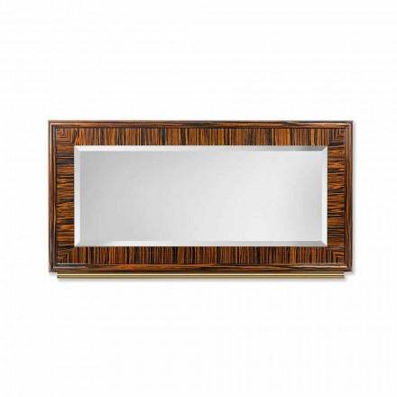 Afgeschuinde spiegel van de wand van gepolijst ebbenhout en metaal Ada 1