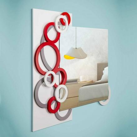 Wit Rood Grijs Modern Design Wandspiegel in Hout - Illusie