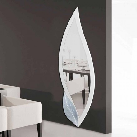 Designspiegel in de vorm van ivoren bloemblad en Ellen-zilver