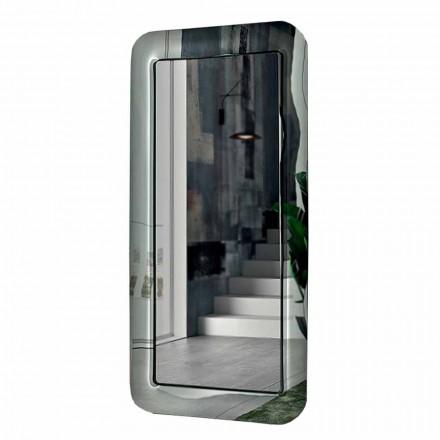 Lange rechthoekige spiegel met frame in kristaleffect Made in Italy - Loop
