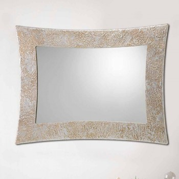 Wandspiegel in hars en Venetiaans zilveren blad