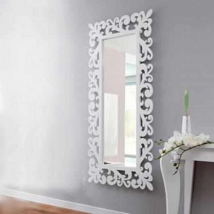 Grote rechthoekige design wandspiegel in modern wit hout - Cortese