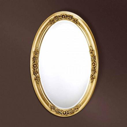 Moderne ovale houten spiegel handgemaakt in Federico Italië