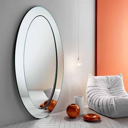 Moderne ovale vrijstaande spiegel met schuine lijst gemaakt in Italië - Salamina