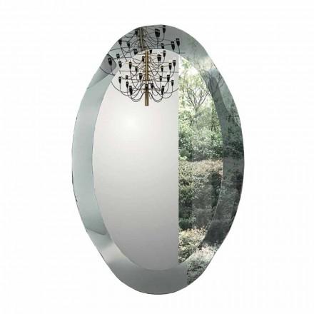 Ovale wandspiegel in kristalgegolfd glas Made in Italy - Eclisse