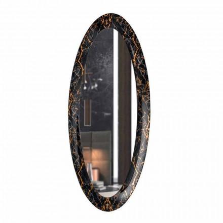 Lange ovale wandspiegel met lijst met marmereffect Made in Italy - Denisse
