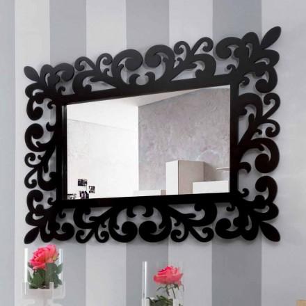Grote moderne design rechthoekige wandspiegel in zwart hout - Manola