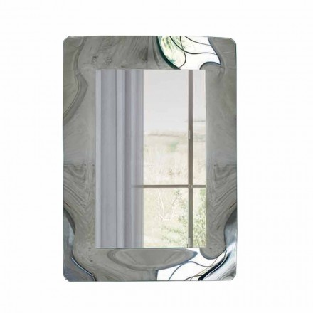 Rechthoekige spiegel met gegolfd glazen frame Made in Italy - Vira