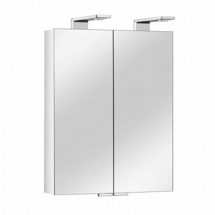 Spiegel met 2 deuren met houder van zilverkleurig aluminium en chromen details - max