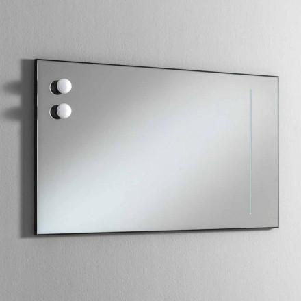 Wand-badkamerspiegel met 2 lampen en zwarte lijst Made in Italy - lijst