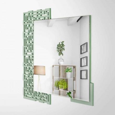Moderne vierkante design wandspiegel in versierd groen hout - labyrint