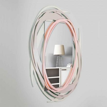 Moderne wandspiegel met decoratief ontwerp in gekleurd hout - Orbit