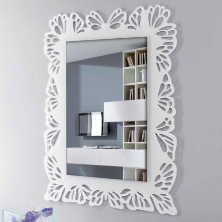 Witte plexiglas wandspiegel met versierd rechthoekig frame - Alidifarf