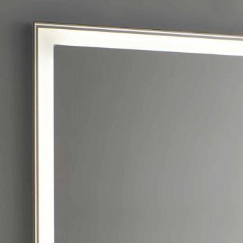 Badkamerspiegel van imitatie aluminium met achtergrondverlichting Made in Italy - Palau