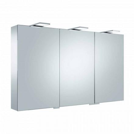 Containerspiegel met 3 deuren met 9 interne planken en LED-verlichting - ratel