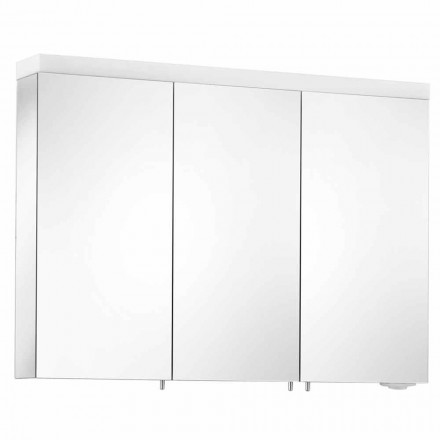 Wandspiegel met 3 deuren in zilver geverfd aluminium - Alfio