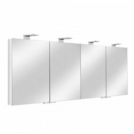 Spiegelcontainer met 4 kristallen deuren met 12 planken en 4 LED-verlichting - Maxi