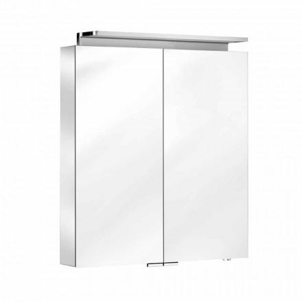 Wandspiegel met 2 deuren met LED-licht en stopcontacten - Bramo