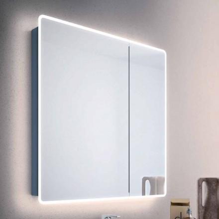 Spiegel moderne container 2 badkamer deuren, met LED-verlichting, Valter