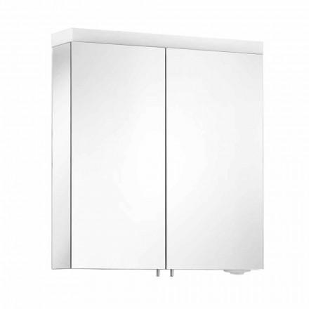 Spiegel met 2 deuren in zilver geverfd aluminium, moderne Alfio