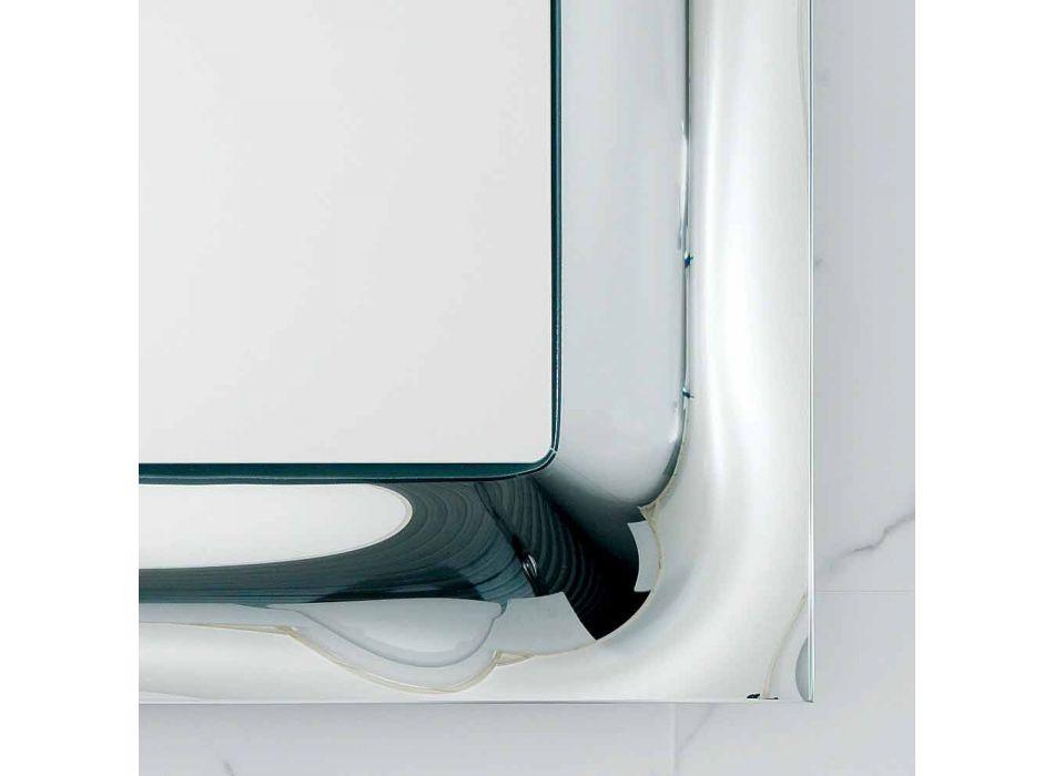 Badkamer spiegellijst gesmolten glas zilver modern design Arin