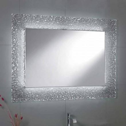 Spiegel moderne badkamer met decoratief glas frame en LED-verlichting Tara