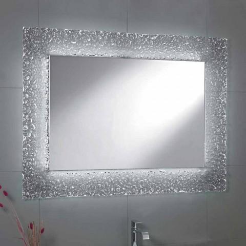 Magnifiek Spiegel moderne badkamer met decoratief glas frame en LED @HE27