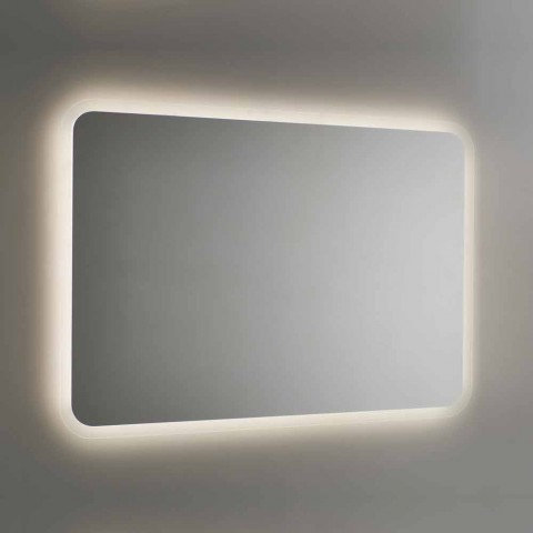 Afgeronde badkamerspiegel met LED-achtergrondverlichting Made in Italy - Pato