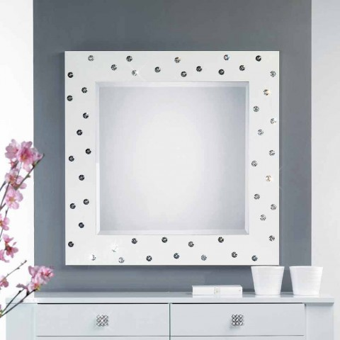 Salontafel Met Swarovski.Witte Muur Spiegel Met Decoraties In Swarovski Kristallen Tiffany