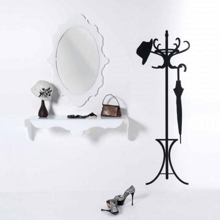 witte muur spiegel ontwerp Joy frame versierd, made in Italy