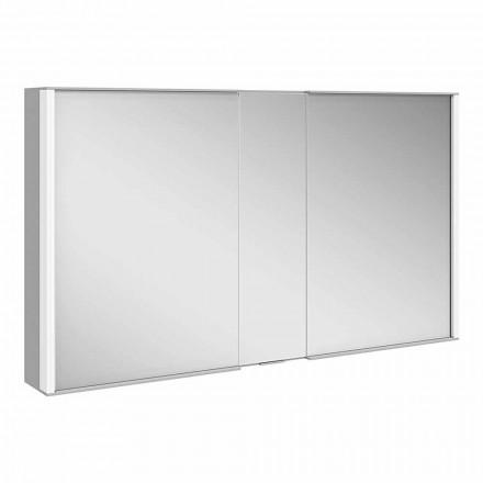 Moderne wandspiegel met 3 deuren in zilver geverfd aluminium - Demon