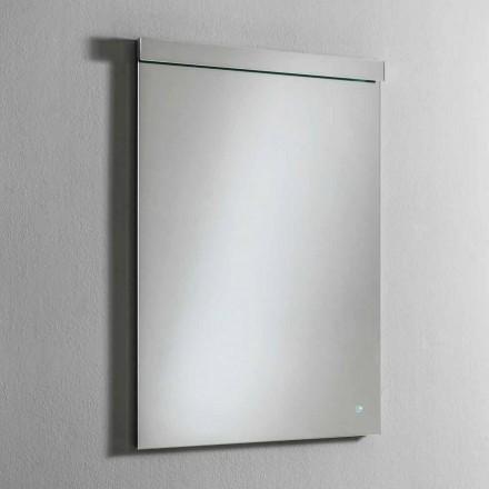 Wandspiegel met geïntegreerd LED-licht in roestvrij staal Made in Italy - Tuccio