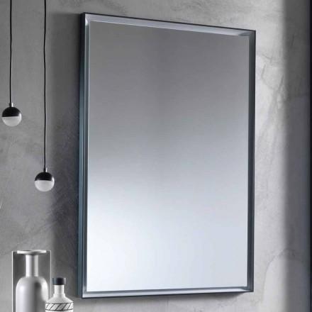 Wandspiegel met aluminium frame en LED-licht Made in Italy - Chik