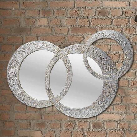 Design wandspiegel in zilver blad gemaakt in Italië Cortina